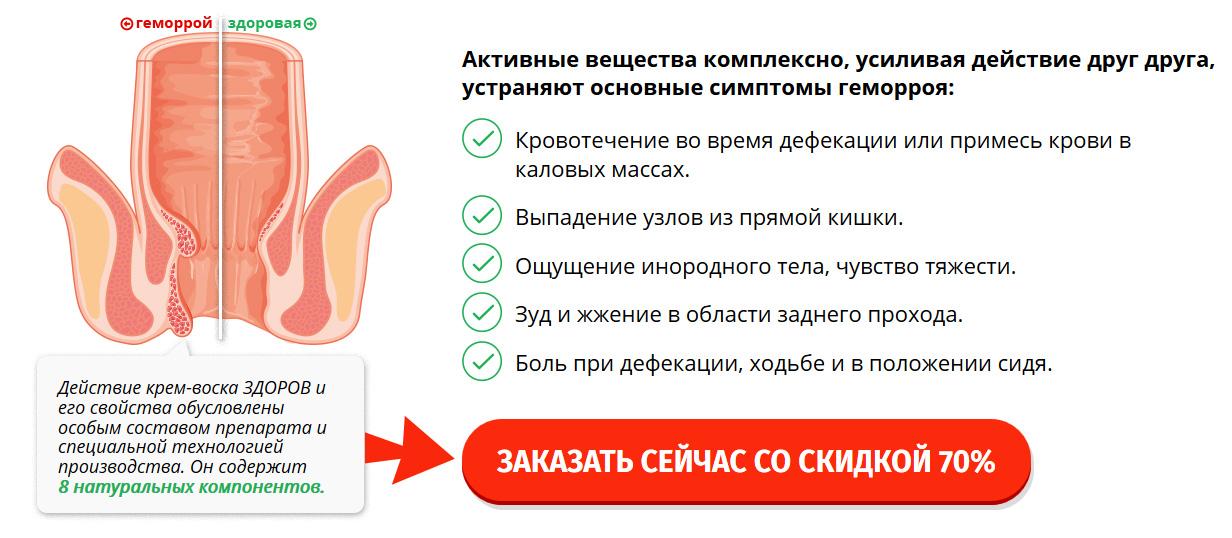 Купить в аптеке крем от геморроя ЗДОРОВ